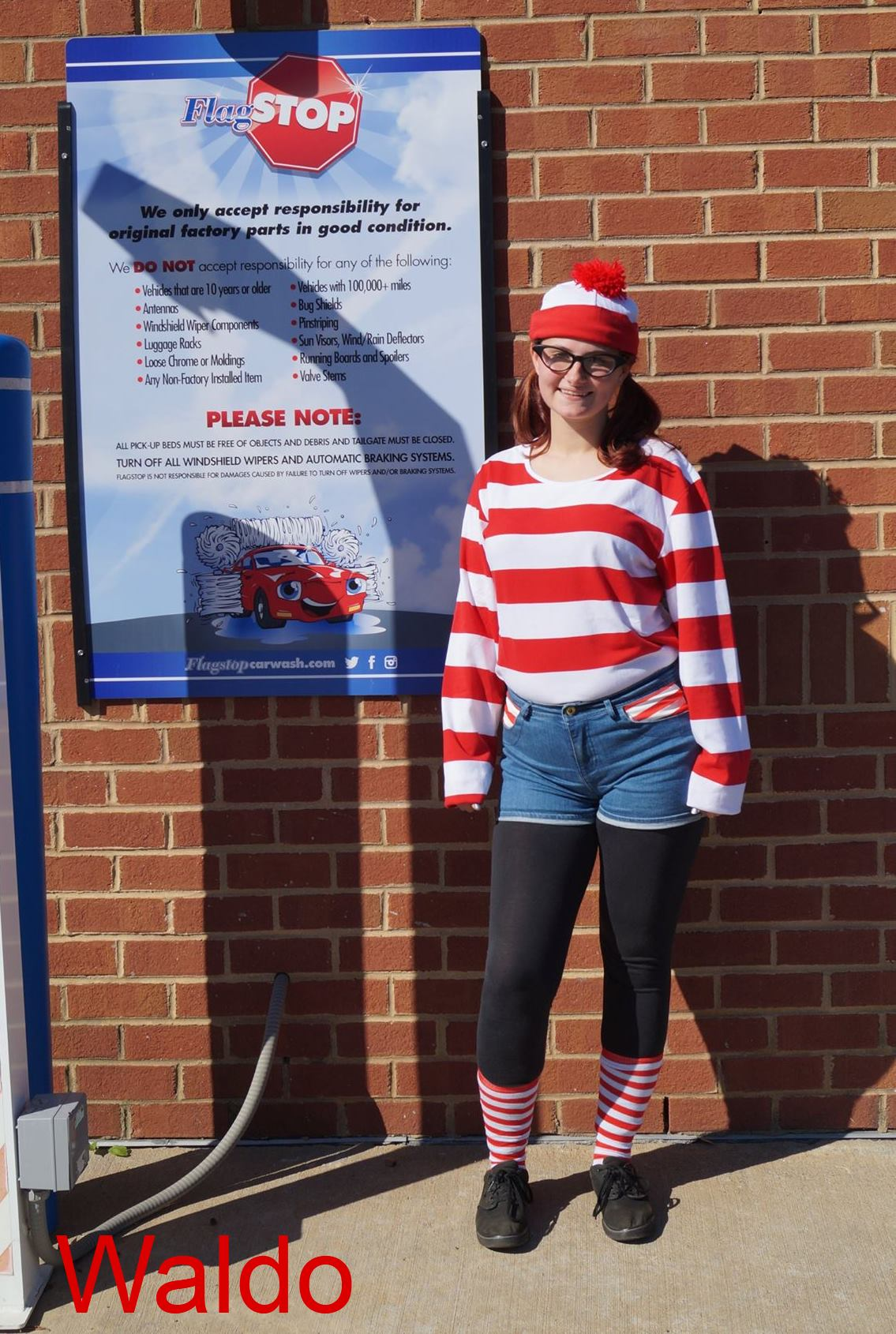 Where's Waldo halloween costume outside a flagstop in richmond va