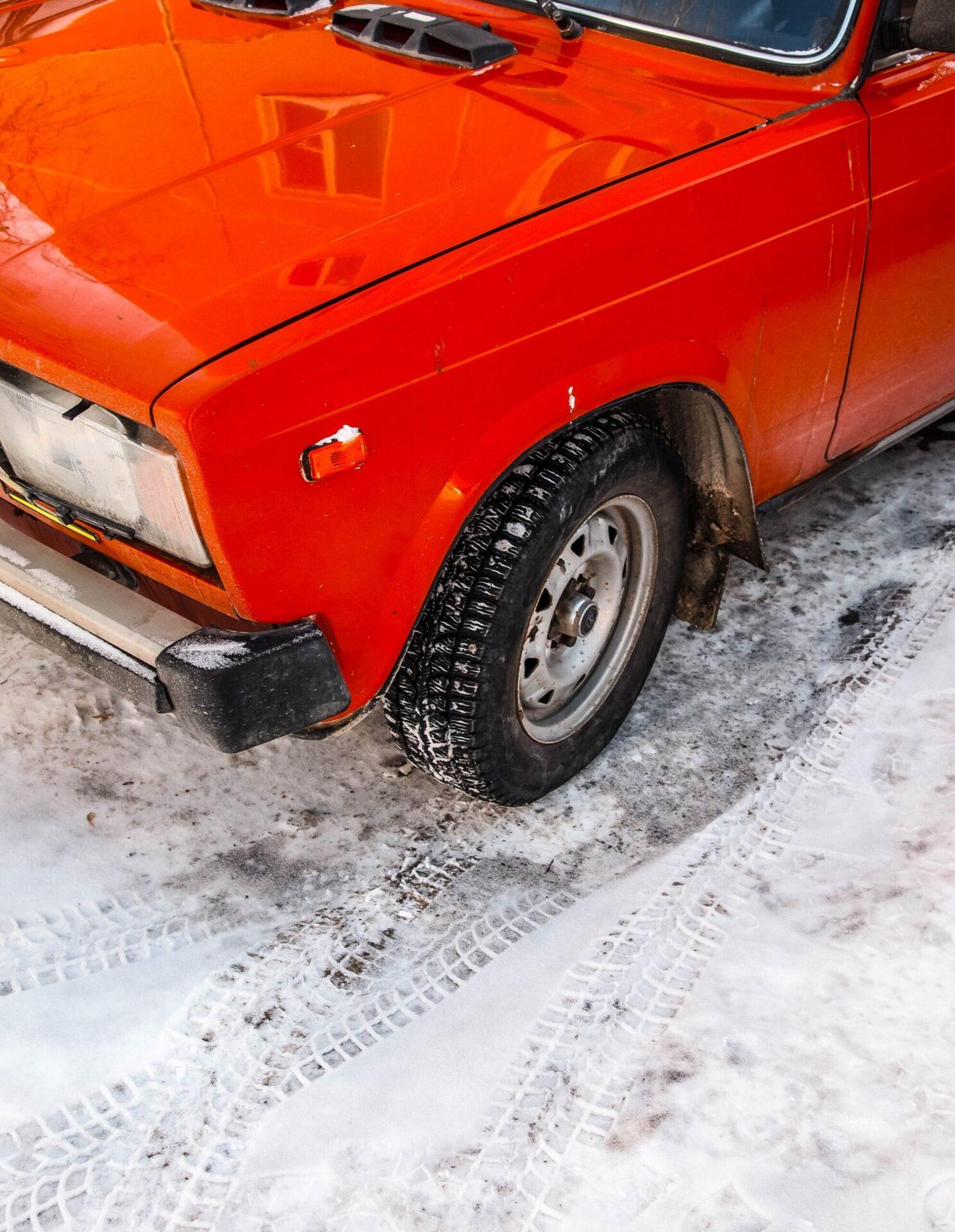 winter car driving through the snow